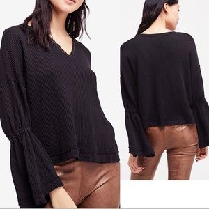 Free People Dahlia Thermal Boho Bell Sleeve Blouse